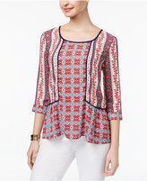 NY Collection Petite Mixed-Print Peplum Top