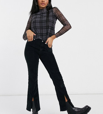 ASOS DESIGN Petite high rise 'sassy' cigarette jeans with split front in cord