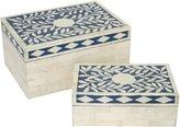 Three Hands Wood Box, Set Of 2 - Bone/Resin