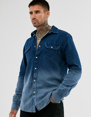 ONLY & SONS dip dye denim fade shirt in regular fit-Navy