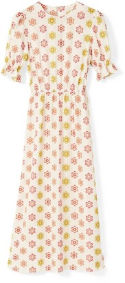 Phoebe Grace Tilly Round Neck Midaxi Puff Sleeve Dress In White Daisy