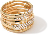 Ippolita Stardust Five-Row Squiggle Ring with Diamonds, Size 7