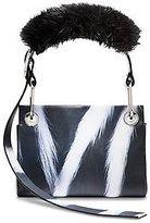 Calvin Klein Womens Calf Belted Hobo + Faux Fur Skunk Pink / Black