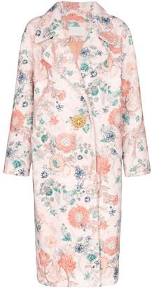 Peter Pilotto Boucle Floral Jewel Button Coat