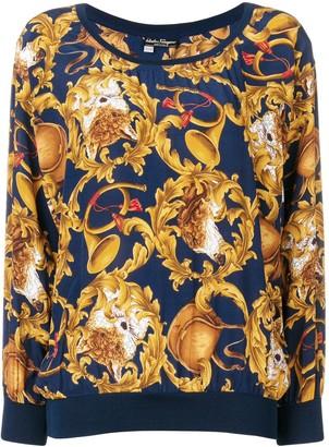 Salvatore Ferragamo Pre Owned 1990's Trumpets Print Blouse