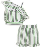 River Island Girls green stripe crop top and shorts outfit