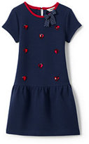 Classic Little Girls Drop Waist Quilted Dress-Midnight Navy