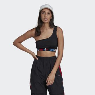 adidas Adicolor Tricolor Primeblue Asymmetric One-Shoulder Top