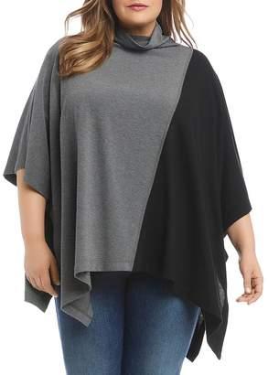 Karen Kane Plus Color-Block Poncho Sweater