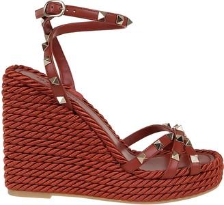 Valentino Rockstud Cowhide Ankle Strap Wedge Sandal