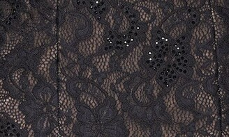 La Femme Off the Shoulder Long Sleeve Lace Gown