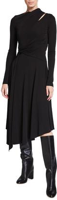 Halston Prisma Long-Sleeve Asymmetrical Jersey Dress