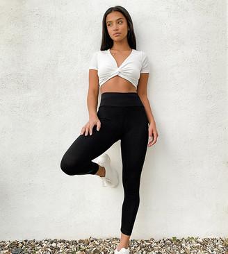 ASOS DESIGN Petite leggings with deep waistband in black