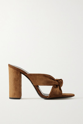 Saint Laurent Bianca Knotted Suede Mules - Brown