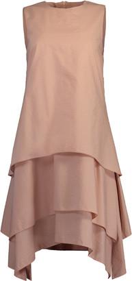 Brunello Cucinelli Ash Rose Tiered Crewneck Mini Dress