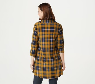 Women With Control Attitudes by Renee Petite Yummy Jersey Collared Plaid Tunic