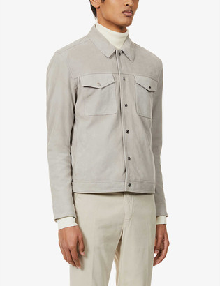 Reiss Jagger suede trucker jacket
