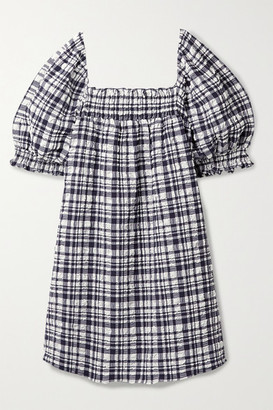 Solid & Striped Smocked Checked Seersucker Mini Dress - Navy