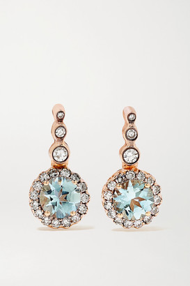 Selim Mouzannar Beirut Basic 18-karat Rose Gold, Aquamarine And Diamond Earrings
