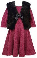 Bonnie Jean Girls 4-6x Textured Skater Dress & Vest Set
