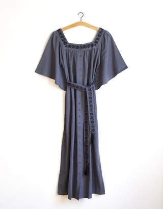 Ash Voriagh - Vintage style bohemian embroidered cotton dress blue grey - S/M   cotton   blue   Black Blue/Blue