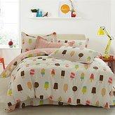 LELVA Ice Cream Print Pattern Duvet Cover Sets Bedding for Girls Kids Bedding Cotton 4 Piece Flat/ Fitted Sheet Set (Full, Fitted Sheet Set)