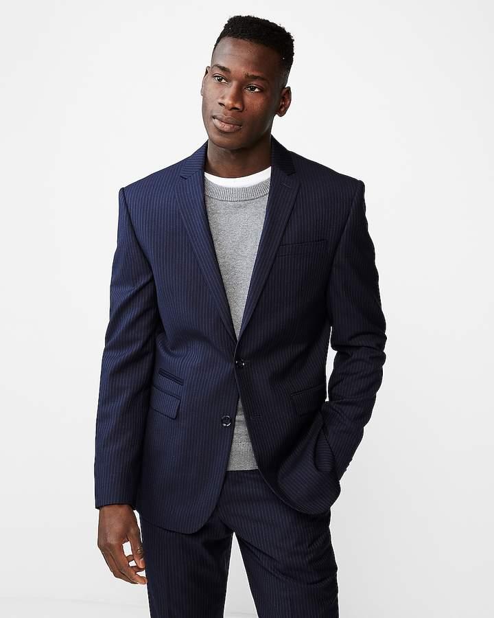 Express Slim Double Stripe Wool-Blend Suit Jacket