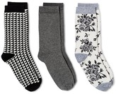 Merona Women's Crew Socks 3-Pack Cream & Gray Rose Floral One Size
