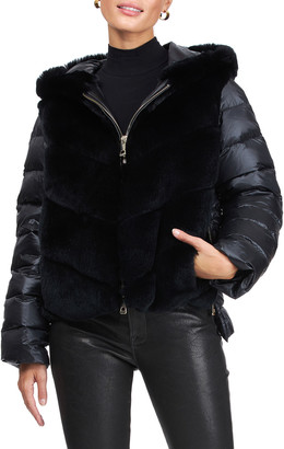 Gorski Hooded Chevron Rex Rabbit Jacket with Quilted Back & Sleeves