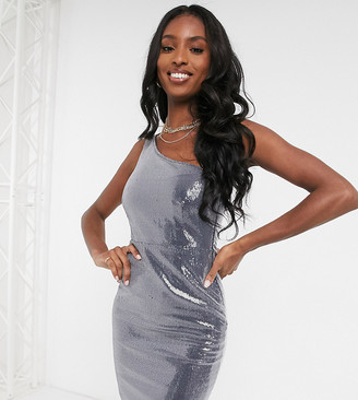 Club L London Tall sequin one shoulder midi dress in navy