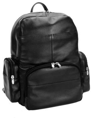McKlein Usa CUMBERLAND, Leather Dual Compartment Laptop Backpack, Pebble Grain Calfskin Leather, Black (88365)