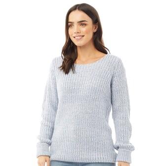 Fluid Womens Scoop Neck 3/4 Sleeve Sweater Blue Twist