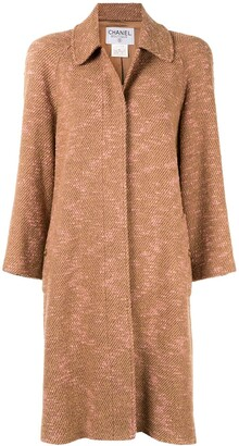 Chanel Pre Owned Long Sleeve Two-Tone Tweed Coat
