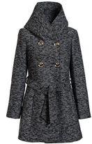 Quiz Grey Tweed Button Front Coat