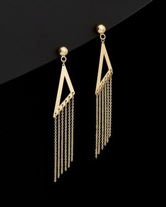 Italian Gold 14K Triangle Tassel Drop Earrings