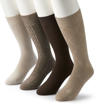 Croft & Barrow Men's 4-pack Opticool Patterned Neutral Crew Socks