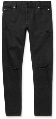 Balmain Skinny-Fit Distressed Denim Jeans - Men - Black