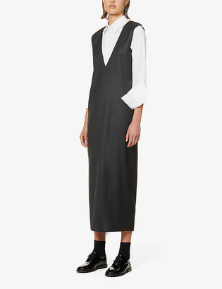 Gabriela Coll G Raw-trim V-neck wool maxi dress
