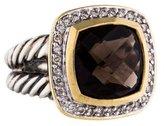 David Yurman Two-Tone Diamond & Smoky Quartz Albion Ring