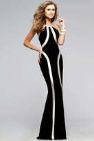Faviana Ravishing Jersey Dress with Gold Leather Linear Accent 7785