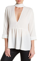 Lucca Couture 3/4 Sleeve Front V-Cutout Blouse