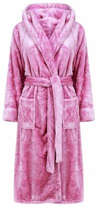 Slenderella Ladies Super Thick Soft Plain Light Purple Fleece Self Tie Belt Hooded Bath Robe Dressing Gown House Coat Large 16 18
