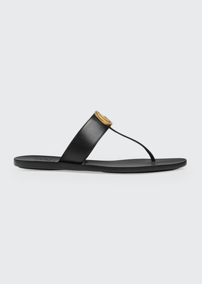 Gucci Marmont Flat Marmont Leather Thong