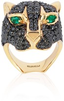 Effy Jewelry Effy Limited Edition 14K Yellow Gold Black Diamond & Emerald Ring, 4.89 TCW