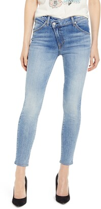7 For All Mankind Asymmetrical Zip Ankle Skinny Jeans