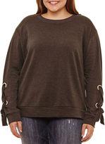 Arizona Lace Up Sleeve Sweatshirt-Juniors Plus