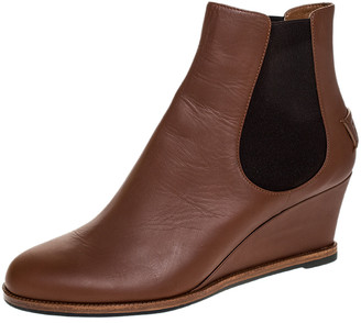 Fendi Brown Leather Wedge Heel Ankle Boots Size 41