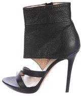 Herve Leger Leather Ankle Cuff Sandals