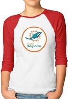 Parisama-oran Women's Miami Dolphins Football Logo Baseball T-shirts S (2 Colors)