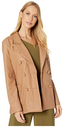 Blank NYC Faux Leather Long Double Breasted Blazer in Murky Waters (Natural) Women's Coat